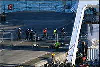 BNPS.co.uk (01202 558833)<br /> Pic: Graham Hunt/BNPS<br /> <br /> Officials board the vessel.<br /> <br /> The survey vessel Geo III in Portland Port in Dorset to land a body from the Emiliano Sala plane wreck.  <br /> <br /> Activity on the dock with police, investigators and crew boarding the ship.