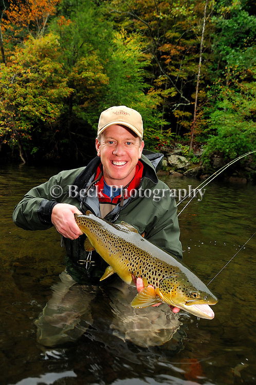 Jim Woods and a fall brown trout