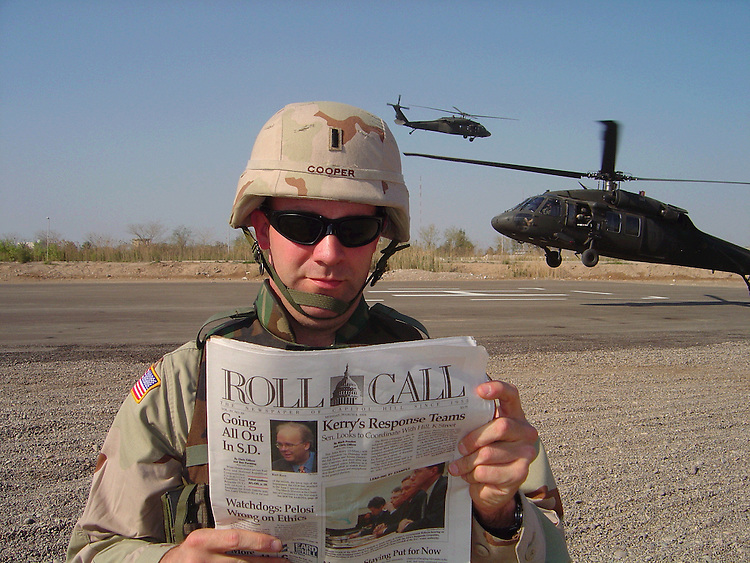 Lt. R. Clarke Cooper, U.S. Army, 350th Civil Affairs Command. Lt. Cooper is currently stationed in Baghdad, Iraq where he can be seen enjoying a ãrecentä .copy of Roll Call.   He is currently on leave from the U.S. Dept. of Interior to fulfill his reserve duty..
