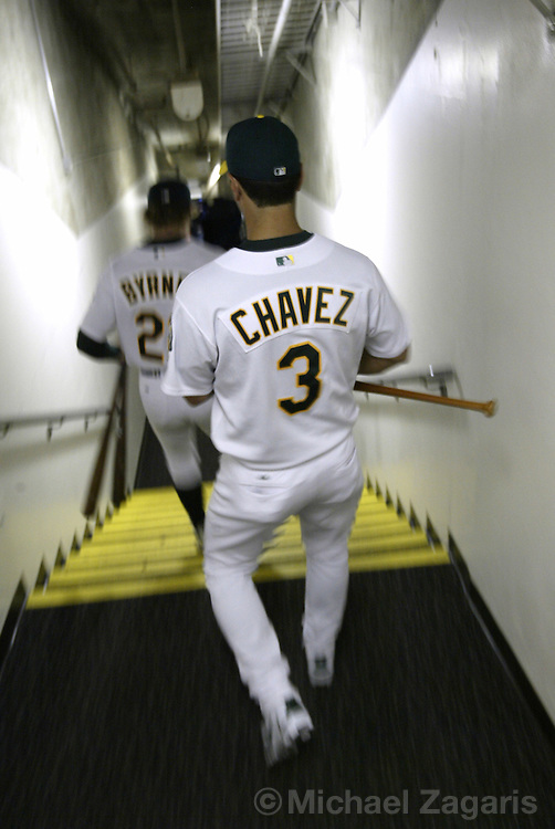 OAKLAND, CA - MAY 4:  Eric Chavez of the Oakland Athletics during the MLB game against the New York Yankees at Network Associates Coliseum on May 4, 2004 in Oakland, California. The Yankees defeated the A's 11-8. (Photo by Michael Zagaris/MLB Photos via Getty Images)