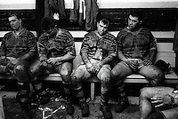 Pix:Michael Steele/SWpix...Huddersfield Rugby League dressing room. Rugby League. From the book 'When Push Comes to Shove'....COPYRIGHT PICTURE>>SIMON WILKINSON..Huddersfield Rugby League dressing room.