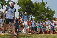 Tommy Fleetwood (ENG) heads to the green on 11 after a beautiful chip from the rocks during 4th round of the 100th PGA Championship at Bellerive Country Club, St. Louis, Missouri. 8/12/2018.<br /> Picture: Golffile   Ken Murray<br /> <br /> All photo usage must carry mandatory copyright credit (© Golffile   Ken Murray)