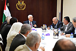 Palestinian President Mahmoud Abbas (Abu Mazen) chairs a meeting of the Central Committee, in the West Bank city of Ramallah, on May 25, 2017. Photo by Osama Falah