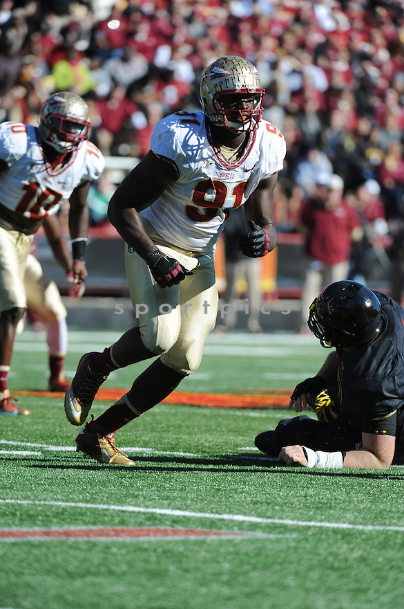 Florida State Seminoles defensive end Cornellius Carradine (91) during game against University of Maryland Terrapins played at Capital One Field At Byrd Stadium on Saturday, November 17, 2012 in College Park, MD. Florida State defeated Maryland 41-14.