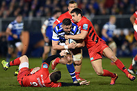 Elliott Stooke of Bath Rugby takes on the Saracens defence. Gallagher Premiership match, between Bath Rugby and Saracens on March 8, 2019 at the Recreation Ground in Bath, England. Photo by: Patrick Khachfe / Onside Images