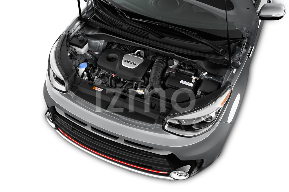 Car Stock 2018 KIA Soul Exclaim 5 Door Hatchback Engine  high angle detail view