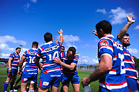 Horowhenua Kapiti players celebrate winning the 2018 Heartland Championship Lochore Cup rugby semifinal between Horowhenua Kapiti and Mid-Canterbury at Levin Domain in Levin, New Zealand on Saturday, 20 October 2018. Photo: Dave Lintott / lintottphoto.co.nz