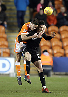 Blackpool's Ben Heneghan battles with Barnsley's Kieffer Moore<br /> <br /> Photographer Rich Linley/CameraSport<br /> <br /> The EFL Sky Bet League One - Blackpool v Barnsley - Saturday 22nd December 2018 - Bloomfield Road - Blackpool<br /> <br /> World Copyright &copy; 2018 CameraSport. All rights reserved. 43 Linden Ave. Countesthorpe. Leicester. England. LE8 5PG - Tel: +44 (0) 116 277 4147 - admin@camerasport.com - www.camerasport.com