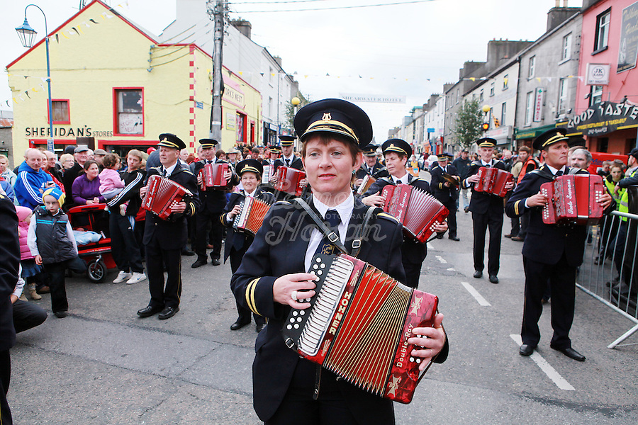2/10/2010. An accordian band march down Main St during the Ballinasloe Horse Fair, Ballinasloe, County Galway, Ireland. Picture James Horan