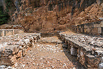 The ruins of the Tomb Temple of the Sacred Goats in the ruins of the Greco-Roman religious center of Panias at Caesarea Philippi in the Hermon Springs (Banyas) Nature Reserve, a national park in northern Israel at the base of Mount Hermon.