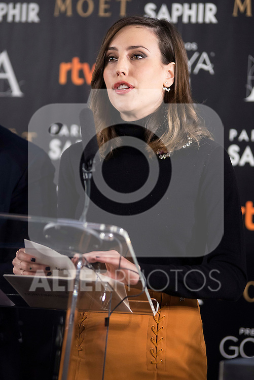 Natalia de Molina during the reading of the nominates for Goya 2017 at Academia de Cine in Madrid, Spain. December 14, 2016. (ALTERPHOTOS/BorjaB.Hojas)