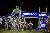 Sven Vanthourenhout (BEL/Crelan-AADrinks) followed by the rest of the leaders in the final laps<br /> <br /> Cross Vegas 2014