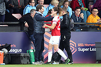 Arsenal Women manager Joe Montemurro and Dominique Bloodworth of Arsenal Women during Arsenal Women vs Manchester City Women, FA Women's Super League Football at Meadow Park on 11th May 2019