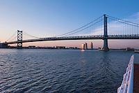 city, cityscape, downtown,   philadelphia, PA. Delaware, river, scenic, sky, skyline, Ben Franklin Bridge, Sunset, Twilight, skyscraper, urban, waterfront Phila, Philly, PA