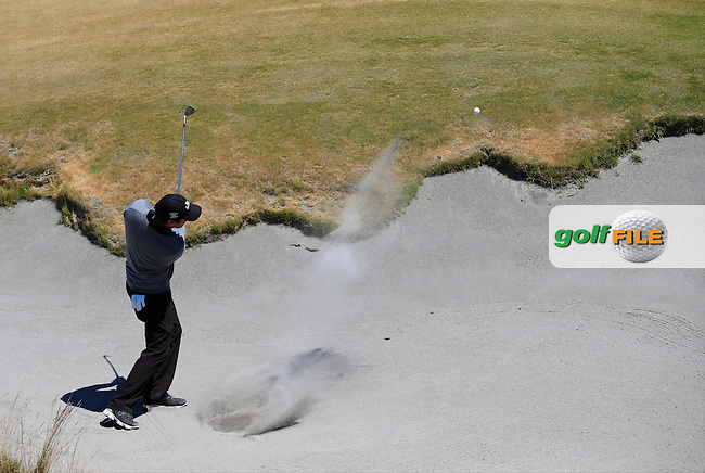 Thomas AIKEN (RSA) in the sand at the 7th green during Friday's Round 2 of the 2015 U.S. Open 115th National Championship held at Chambers Bay, Seattle, Washington, USA. 6/19/2015.<br /> Picture: Golffile | Eoin Clarke<br /> <br /> <br /> <br /> <br /> All photo usage must carry mandatory copyright credit (&copy; Golffile | Eoin Clarke)