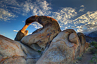 "Alabama Hills are a ""range of hills"" and rock formations near the eastern slope of the Sierra Nevada Mountains in the Owens Valley, west of Lone Pine in Inyo County, California. The Alabama Hills, managed by the U.S. Bureau of Land Management as the BLM Alabama Hills Recreation Area, are a protected habitat and for public enjoyment. Photo/Andrew Shurtleff"
