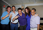 Christopher, Ryan, Christian, Melissa, fan winning team Password -  Actors from Y&R, General Hospital and Days donated their time to Southwest Florida 16th Annual SOAPFEST - a celebrity weekend May 22 thru May 25, 2015 benefitting the Arts for Kids and children with special needs and ITC - Island Theatre Co. as it presented A Night of Stars on May 23 , 2015 at Bistro Soleil, Marco Island, Florida. (Photos by Sue Coflin/Max Photos)