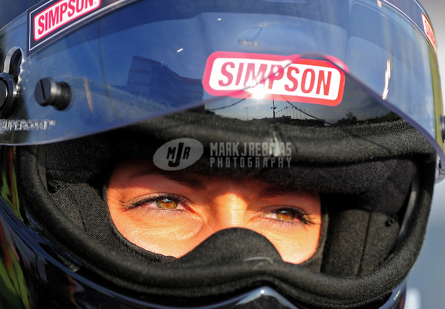 Jun. 19, 2011; Bristol, TN, USA: NHRA pro mod driver Leah Pruett-LeDuc during eliminations at the Thunder Valley Nationals at Bristol Dragway. Mandatory Credit: Mark J. Rebilas-