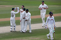 Harry Gurney of Notts celebrates with his team mates after taking the wicket of Simon Harmer during Essex CCC vs Nottinghamshire CCC, Specsavers County Championship Division 1 Cricket at The Cloudfm County Ground on 23rd June 2018