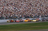 DAYTONA BEACH, FL - FEBRUARY 18: Ernie Irvan drives the Robert Yates Ford at the front of the field during the Daytona 500 NASCAR Winston Cup race at the Daytona International Speedway in Daytona Beach, Florida, on February 18, 1996.