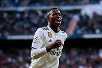 Real Madrid's Vinicius Jr. celebrates goal during La Liga match between Real Madrid and Real Valladolid at Santiago Bernabeu Stadium in Madrid, Spain. November 03, 2018. (ALTERPHOTOS/A. Perez Meca)<br /> Liga Campionato Spagna 2018/2019<br /> Foto Alterphotos / Insidefoto <br /> ITALY ONLY