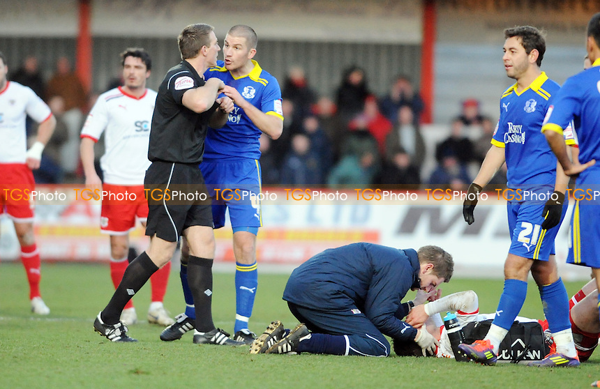 Ben Chorely of Leyton Orient pulls Chris Beardsley of Stevenage over and is sent off  - Stevenage vs Leyton Orient - nPower League One Football at the Lamex Stadium, Broadhall Way, Stevenage - 02/01/12 - MANDATORY CREDIT: Anne-Marie Sanderson/TGSPHOTO - Self billing applies where appropriate - 0845 094 6026 - contact@tgsphoto.co.uk - NO UNPAID USE.