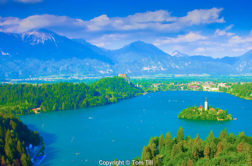 Lake Bled and Julian Alps, Slovenia, Island Church and Bled Castle beyond, One of Europe's most beautiful alpine resorts