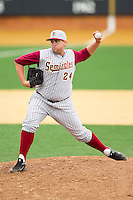 Florida State Seminoles relief pitcher Brian Busch #24 in action against the Wake Forest Demon Deacons at Wake Forest Baseball Park on March 25, 2012 in Winston-Salem, North Carolina.  The Demon Deacons defeated the Seminoles 7-5.  (Brian Westerholt/Four Seam Images)