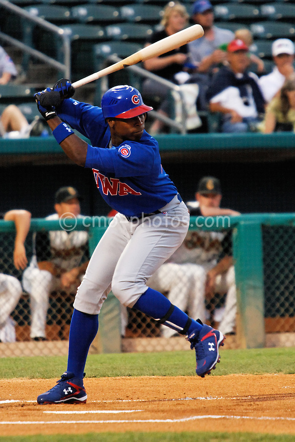 Jul 22, 2008; Tucson, AZ, USA; Chicago Cubs outfielder Alfonso Soriano waits for a pitch in the first inning of a game between the AAA Iowa Cubs and the Tucson Sidewinders at Tucson Electric Park. Soriano would go 1 for 3 with a strikeout during the 5-4 loss to the Sidewinders..