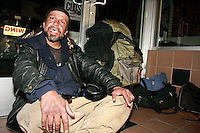"21 January 2008.  Ocean Beach, San Diego, CA:  Frank Montoya, 47, aka ""Cisco"" is seen sitting in the entrance of a store on Newport Avenue in Ocean Beach, San Diego California.  Police have identified Montoya and another man, Damian Maple, 21 as the suspects who allegedly beat a 26-year-old Australian tourist with a skateboard, leaving him unconscious in a fire ring on Abbot Street in Ocean Beach on Wednesday, Feb. 27 at about 5:20 a.m.  The story was featured on the Saturday March 29 edition of the FOX Television Show, America's Most Wanted.  The victim, Robert Schneider, 26, is recovering in a local hospital."