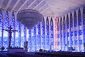 Brasilia, Brazil. Interior of the Dom Bosco Sanctuary Church (Santuario Dom Bosco) by architect Carlos Alberto Naves.