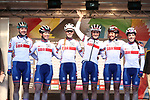 Great Britain team at sign on for the start of the Women Elite Road Race of the UCI World Championships 2019 running 149.4km from Bradford to Harrogate, England. 28th September 2019.<br /> Picture: Alex Whitehead/SWpix.com | Cyclefile<br /> <br /> All photos usage must carry mandatory copyright credit (© Cyclefile | Alex Whitehead/SWpix.com)