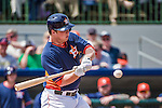 12 March 2014: Houston Astros infielder Matt Dominguez at bat during a Spring Training game against the Washington Nationals at Osceola County Stadium in Kissimmee, Florida. The Astros rallied in the bottom of the 9th to edge out the Nationals 10-9 in Grapefruit League play. Mandatory Credit: Ed Wolfstein Photo *** RAW (NEF) Image File Available ***