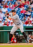26 September 2018: Miami Marlins outfielder Peter O'Brien at bat against the Washington Nationals at Nationals Park in Washington, DC. The Nationals defeated the visiting Marlins 9-3, closing out Washington's 2018 home season. Mandatory Credit: Ed Wolfstein Photo *** RAW (NEF) Image File Available ***