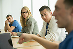 Fourth-year medical students participate in a classroom break-down session after working together to figure out a patient's ailment and administer the proper treatment in the Simulation ICU of the Trent Semans Center for Health Education. From left are Christophe Hansen-Estruch, Gillian Smelick, Phillip Tseng, and Tyler Hobbs.