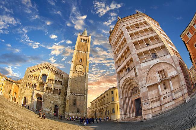Exterior of Parma Duomo and the  octagonal  Romanesque Baptistery of Parma, circa 1196, (Battistero di Parma), Italy