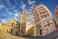 Exterior of Parma Duomo and the  octagonal  Romanesque Baptistery of Parma, circa 1196, (Battistero di Parma), Italy