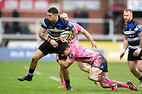 Matt Banahan of Bath Rugby takes on the Exeter Chiefs defence. Anglo-Welsh Cup Final, between Bath Rugby and Exeter Chiefs on March 30, 2018 at Kingsholm Stadium in Gloucester, England. Photo by: Patrick Khachfe / Onside Images