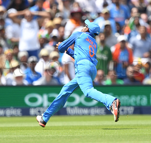 June 18th 2017, The Kia Oval, London, England;  ICC Champions Trophy Cricket Final; India versus Pakistan; Ravindra Jadeja of India catchs Fakhar Zaman of Pakistan out