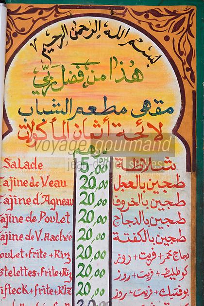 Afrique/Afrique du Nord/Maroc/Rabat: dans la médina - détail du menu d'un restaurant