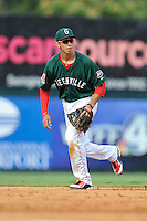 Shortstop Javier Guerra (31) of the Greenville Drive in a game against the Charleston RiverDogs on Sunday, August 16, 2015, at Fluor Field at the West End in Greenville, South Carolina. Guerra is the No. 13 prospect of the Boston Red Sox, according to Baseball America. Charleston won, 6-2. (Tom Priddy/Four Seam Images)