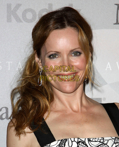 LESLIE MANN.2010 Crystal + Lucy Awards: A New Era_Arrivals held at The Hyatt Century Plaza Hotel, Century City, CA, USA..June 1st, 2010 .headshot portrait black white pattern .CAP/ADM/KB.©Kevan Brooks/AdMedia/Capital Pictures.