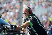 Sep 4, 2016; Clermont, IN, USA; Tommy DeLago , crew chief for NHRA funny car driver Alexis DeJoria during qualifying for the US Nationals at Lucas Oil Raceway. Mandatory Credit: Mark J. Rebilas-USA TODAY Sports