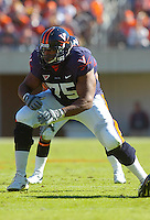 03 November 2007:  Virginia tackle Eugene Monroe (75)..The Virginia Cavaliers defeated the Wake Forest Demon Deacons  17-16 November 3, 2007 at Scott Stadium in Charlottesville, VA..