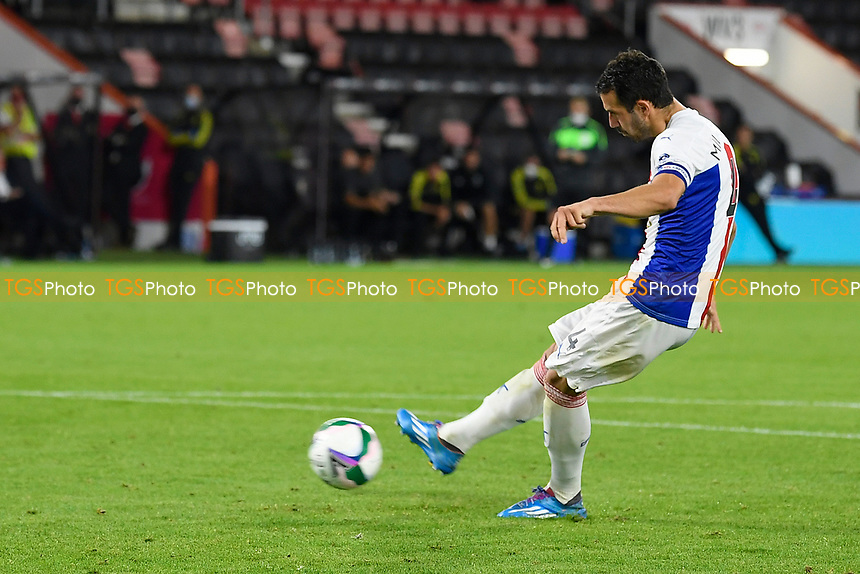 Luka Milivojević of Crystal Palace has his penalty saved during AFC Bournemouth vs Crystal Palace, Carabao Cup Football at the Vitality Stadium on 15th September 2020