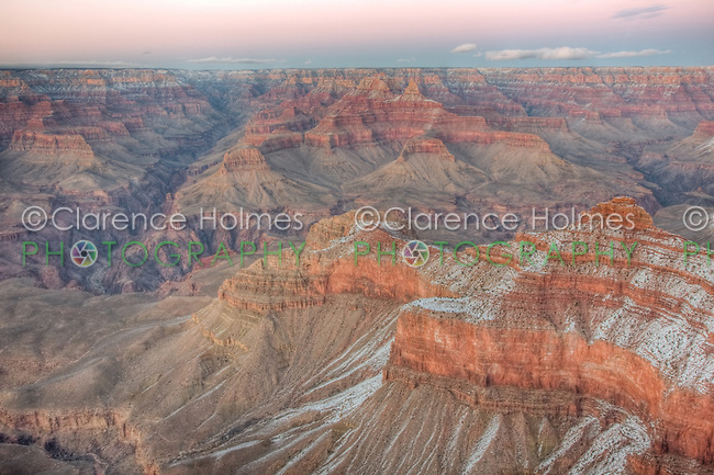 Winter view of the Grand Canyon after sunset from Mather Point