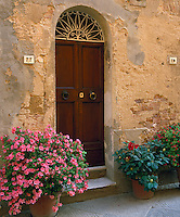 Pienza,Tuscany, Italy<br /> Arched wood doorway in a plastered stone wall decorated with potted flowers