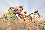 Mary Moriba and other members of the United Methodist Women in Yei, Southern Sudan, prepare a plot of land for planting vegetables as part of a group food security project. Many of them widows, the women live precariously but at peace after having returned from refugee camps in neighboring Uganda and the Congo in recent years. A 2005 Comprehensive Peace Agreement laid the foundations for peace in Sudan's south after decades of war. NOTE: In July 2011, Southern Sudan became the independent country of South Sudan