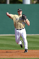 Grant Buckner of the West Virginia Mountaineers during the Big East-Big Ten Challenge vs. the Iowa Hawkeyes at Jack Russell Stadium in Clearwater, Florida;  February 18, 2011.  West Virginia defeated Iowa 5-0 in both teams opening games of the season.  Photo By Mike Janes/Four Seam Images