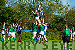 Tralee's Carolann Healy out jumps Tara Shine of Richmond in the Women's Munster League Division 1 game, Tralee v Richmond in O'Dowd Park, Tralee on Sunday.
